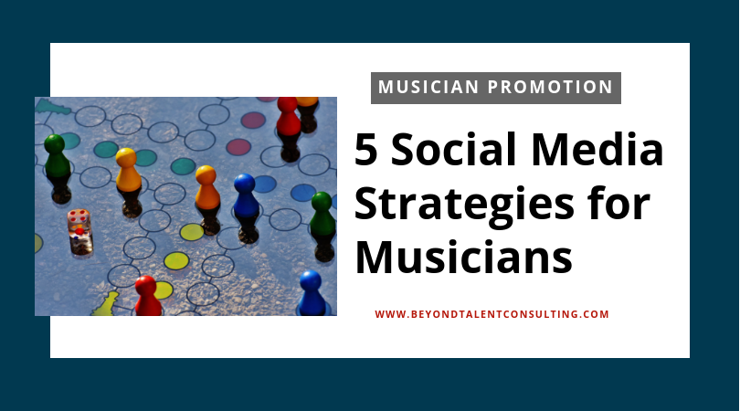5 Social Media Strategies for Musicians with photo of board game